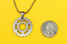 Chain Ring Bike Pendant-stainless steel cyclist charm FREE beaded chain