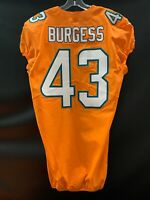 #43 JAMES BURGESS MIAMI DOLPHINS GAME USED TEAM ISSUED ORANGE COLOR RUSH JERSEY
