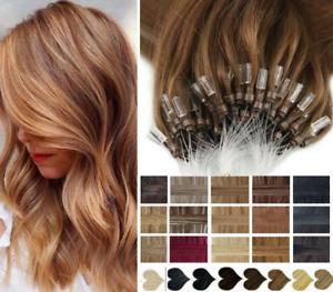 "16""/18""/20""/22"" 1G MICRO LOOP RING BEAD 100% HUMAN Hair Extensions Straight"