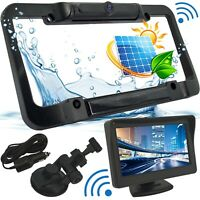 Wireless Waterproof HD Solar License Plate Rear View Backup Camera Night Vision