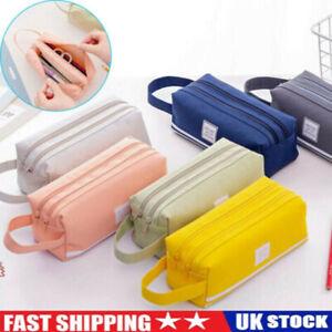 Large Capacity School Pen Pencil Case College Double Zipper Stationery Pouch Bag