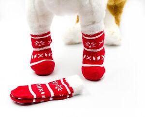 Snowflake Holiday Christmas Warm Socks for Dogs & Cats - Non Skid Anti Slip Bott