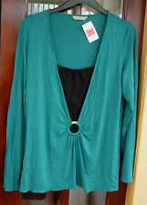 NWT~M&S~Ladies soft stretchy faux two piece tunic top teal/black size 18 rrp £18