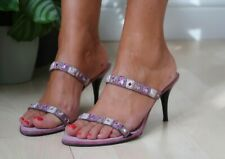 Rebeca Sanver ladies lilac pink embellished barely there strappy mules shoes 5