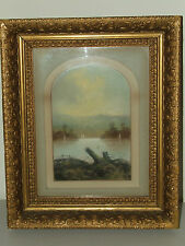 Antique 19th C. Framed Scenic Bay Landscape Painting Gold Gilded Victorian Frame