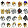 Fashion Retro Mens Solid 316L Stainless Steel Motorcycle Biker Ring Jewelry Gift