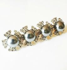 USA Hair Clip Claw Rhinestone Crystal Hairpin Jewel Pearl Fashion Gray 03