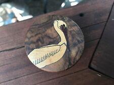 Vintage  Beautiful Walnut Burl / Marquetry Pelican Roll Stamp Holder