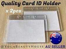 2pcs*QUALITY Horizontal Clear Card ID Holder Sleeve Office Name Tag Pass Lanyard