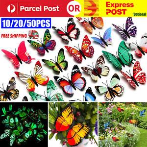 10/20/50Pcs Simulation Butterfly Stick Outdoor Garden Flower Pot Decor Ornament