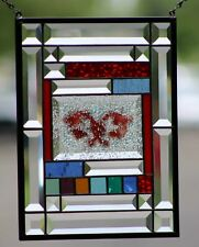 😘Beveled Stained Glass Window Panel, Hanging, Multi-media (Fused )