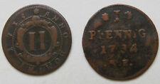 Hessen-Darmstadt Ernst Ludwig 2 Pfennig 1735 + Pfennig 1734