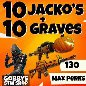 FORTNITE Save The World - 10 x Gravediggers + 10 x Jacko's - pl130 - max perks