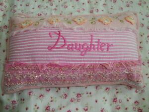 April Cornell New Daughter Pink Pillow Cushion RARE Vintage Romantic Princess
