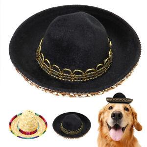 Pet Dog Hat Sombrero Straw Hat Cat Cavalry Cowboy Cap Colorful Trim Gold Black