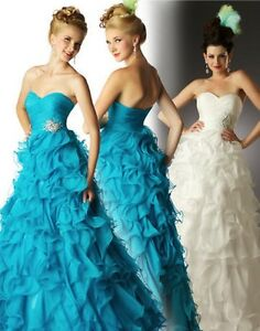 NWT MacDuggal 6854H prom pageant quinceanera ruffle dress 8 ocean blue