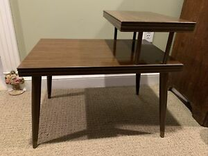 Mid Century Modern Stack Step End Table Vintage, Tapered Legs