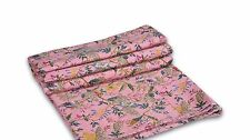 Indian Pink Floral Kantha Quilt Bedspread Blanket Throw Twin Bedding Decor