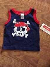 NEW Baby Boys Tank Top 3/6 Months T-Shirt Top Pirate Skull Crossbones Infant 3m