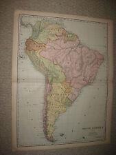 HUGE FOLIO SIZE ANTIQUE 1898 SOUTH AMERICA MAP BRAZIL PATAGONIA ARGENTINA PERU N
