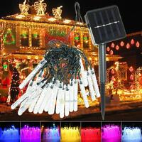 3.5M 20LED Solar Meteor Shower Outdoor Rain Tube Lamp String Fairy Light Decor