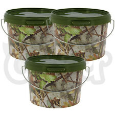 Airtight Round Camo 3L Litre NGT Fishing Bait Tackle Buckets with Metal Handle