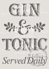 GIN & TONIC Served Daily A5 STENCIL Furniture Fabric Vintage Shabby Chic ❤