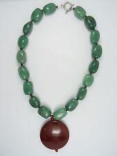 Necklace & Agate Pendant Vintage Tribal Tibet Chunky Jade