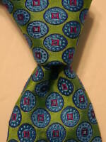 TED BAKER London Men's 100% Silk Necktie USA Designer Geometric Green/Blue NWT