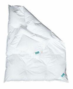 2-tlg. Kinder Baby Bettdecke Set mit Kopfkissen weiß Daunen / Federn