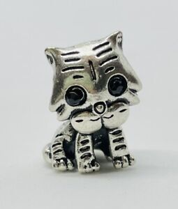 CAT / TIGER / KITTEN - European Charm & Gift Pouch - Silver Tone - Kawaii