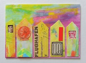 """""""Main Street"""" Original Art Houses Stamp Collage Pop Mixed Media ACEO 2.5"""" x 3.5"""""""