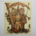 """EARLY HUMMEL LITHOGRAPH ART PLAYING INSTRUMENT, UMBRELLA, LETTER """"W"""""""