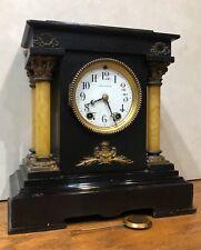 "Seth Thomas ""Toulon� Open 4 Pillar Adamantine 8 Day Mantel Shelf Table Clock"