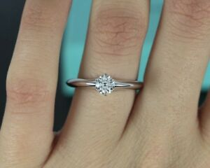 $5,450 Tiffany & Co Platinum Round 0.56ct G VS2 Solitaire Engagement Ring Sz 7.5