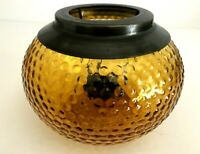 "Vintage Large Amber Hobnail Glass With Brass Tealight Candle Holder 6"" Diameter"