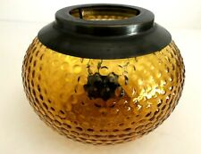"""Vintage Large Amber Hobnail Glass With Brass Tealight Candle Holder 6"""" Diameter"""