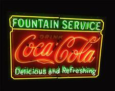 "Coca Cola Fountain Service Delicous Refreshing Neon Light Sign 32""x24"" Beer Bar"