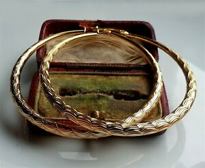 LARGE 9ct Gold Patterned Hoop Earrings gf ,BUY WITH CONFIDENCE! { HO14 }