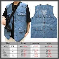 Denim Jeans Trucker Vest Mens sleeveless Outdoor Fisherman Trekking Waistcoats