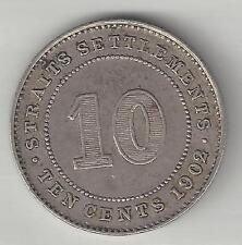 STRAITS SETTLEMENTS,  1902,  10 CENTS,  SILVER,  CHOICE EXTRA FINE,  KM#21