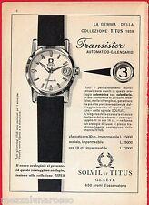 Pubblicità Advertising 1959 Transistor SOLVIL et TITUS