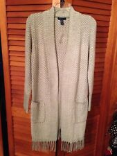 Isaac Mizrahi Live! TRUE DENIM Open Cardigan with Fringe Woman's Size XS Sage