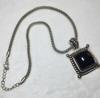 "Vintage PD CROWN necklace Unisex Silver Toned Domed Black Center 18"" Chain"
