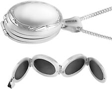 FOUR PART OVAL LOCKET ON CHAIN VICTORIAN STERLING SILVER 925 FROM ARI D NORMAN