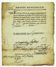 1785, may 25. Port-au-Prince, Rare and historic receipt for taxes on Slaves
