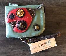 NWT CHALA HANDBAGS Small Leather Wristlet Wallet Ladybug Flower Brass Blue Red