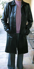 LEATHER LAMB SKIN BLACK VERY SOFT S WOMENS LONG COAT STUNNING IN MINT CONDITION!