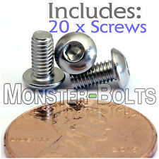 4mm x 0.70 x 6mm - Qty 20 - A2 Stainless Steel BUTTON HEAD Screws ISO 7380 M4