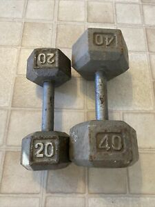 Barbell Cast Iron Hex Dumbbells   40 lbs. 20 Weights 60 Pounds  Dumbbell 40Lbs